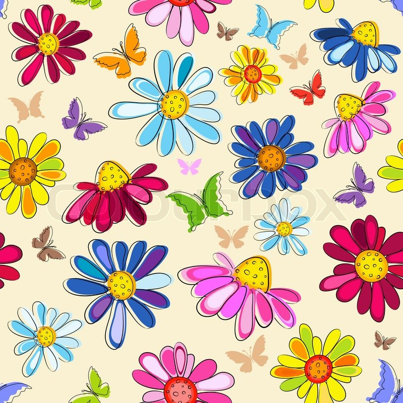 800x800 Effortless Pink Pastel Floral Pattern With Butterflies And Flowers