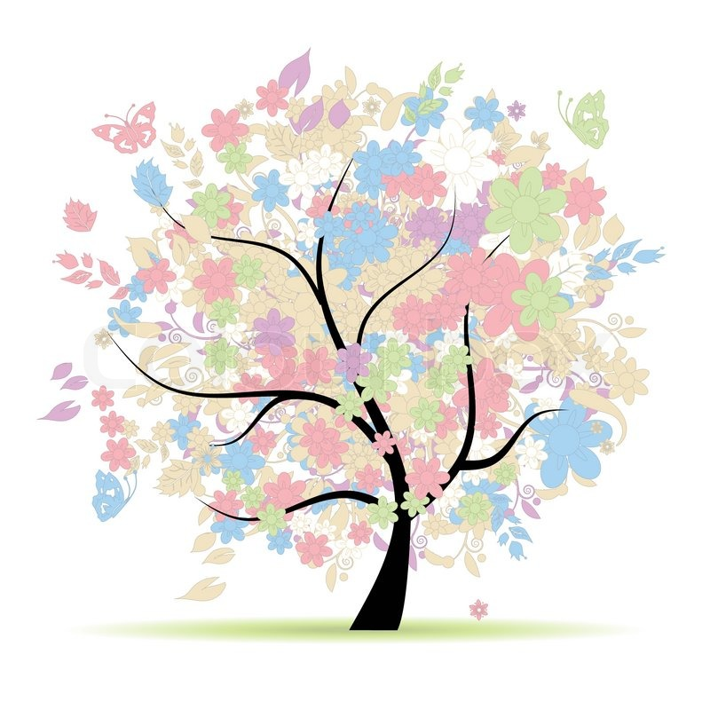 800x800 Floral Tree In Pastel Colors For Your Design, Spring Stock