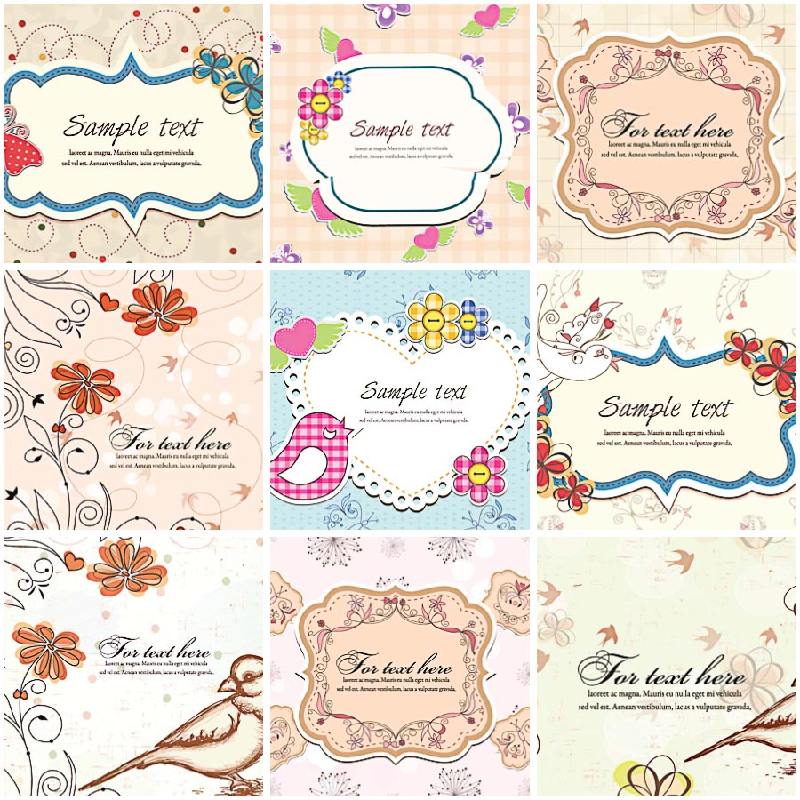 900x900 Ornate Frames With Birds Vector Free Download