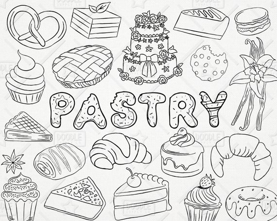 570x456 Doodle Pastry Vector Pack Bakery Clipart Sweets Clipart Etsy