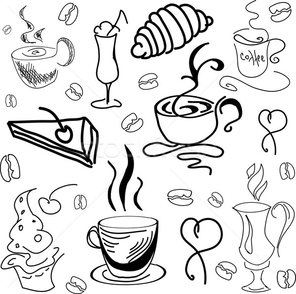 600x596 Drawn Image With Coffee Drinks And Pastry. Vector Illustration