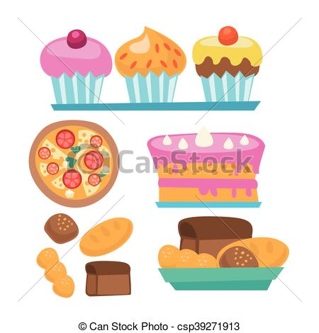450x470 Pizza And Assortment Of Sweet Pastry. Pizza And Assortment Of