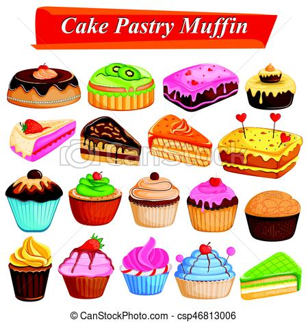 450x470 Set Of Yummy Assorted Cakes And Pastry Food Dessert. Illustration