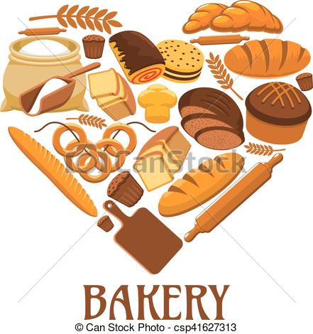 441x470 Bakery Heart Sign Of Bread, Pastry, Dessets. Bakery Symbol In