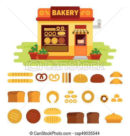 450x470 Bakery Shop On The Street With Bread Icon Set , Pastry Vector Flat