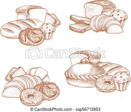 450x385 Bread And Bakery Or Pastry Vector Sketch. Bakery Bread And