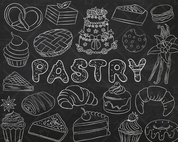 570x456 Chalkboard Pastry Vector Pack Bakery Clipart Sweets Clipart Etsy