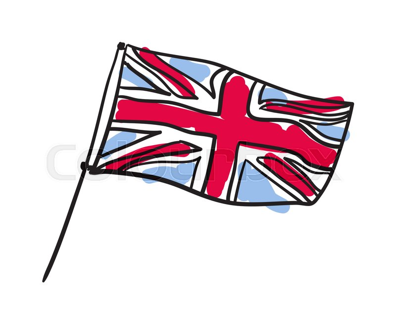800x654 Great Britain Flag Hand Drawn Isolated Icon. English Culture