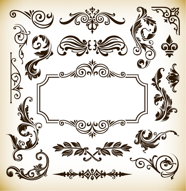 747x768 Vintage Pattern Frame Decoration Vector Graphics Free Vector