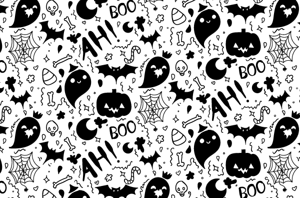 600x395 Boo Filled Hand Drawn Halloween Pattern Vector!