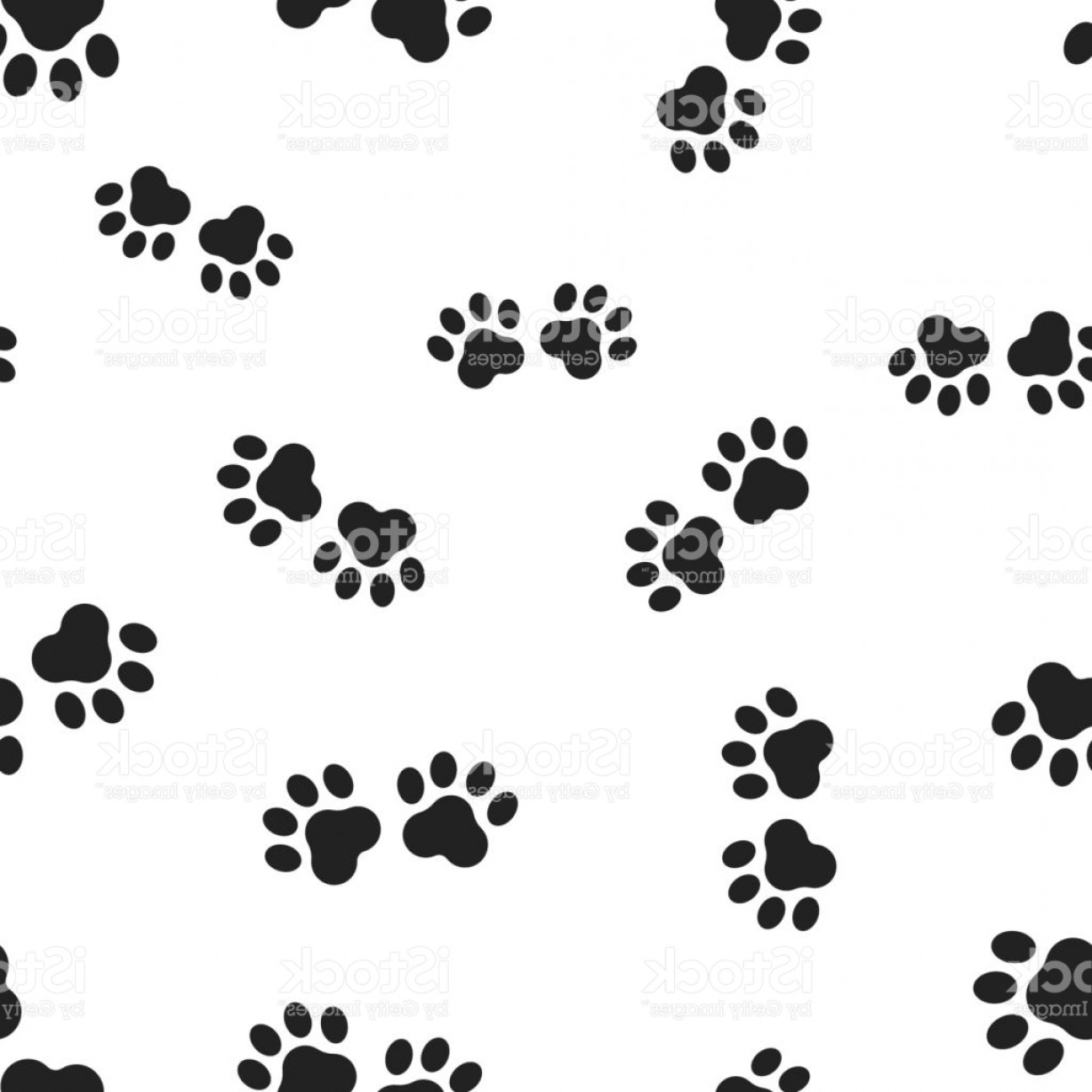1228x1228 Animal Paw Print Seamless Pattern Background Business Flat Vector