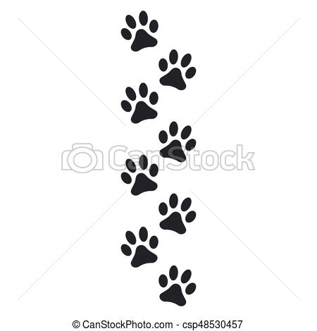 450x470 Paw Print Vector Illustration Isolated On White Background.