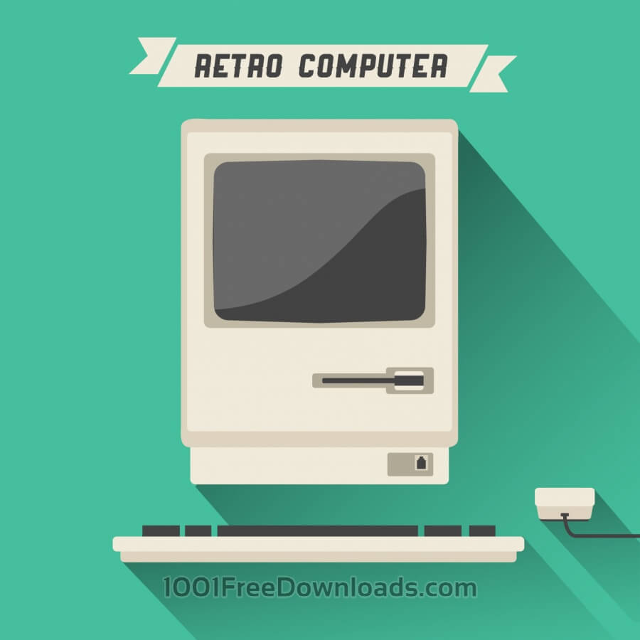 900x900 Free Vectors Retro Computer With Long Shadow Backgrounds