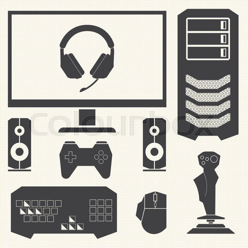 800x800 Computer And Hardware Devices For Pc Gamer Stock Vector Colourbox