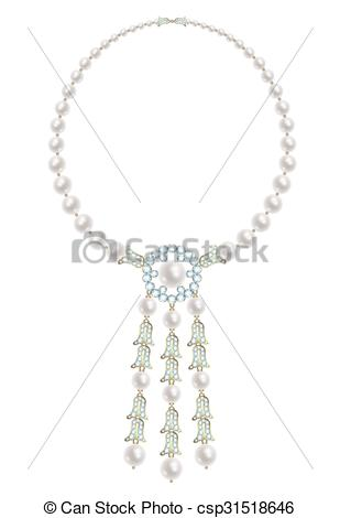 309x470 Pearl And Diamonds Necklace. Pearl Necklace With Three Pendants