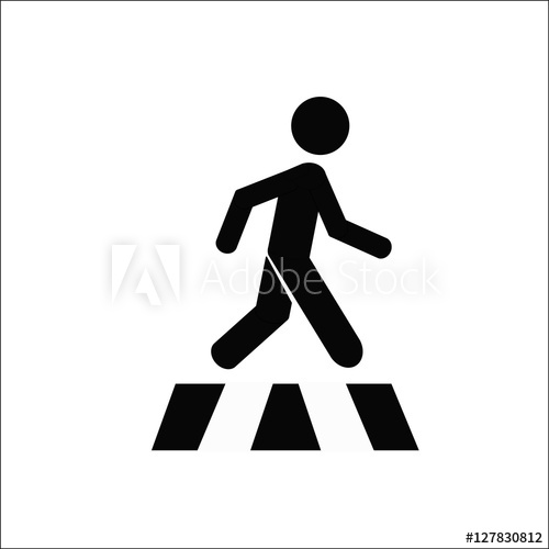 500x500 Pedestrian Cross Walk Icon Vector Isolate On White Back Ground