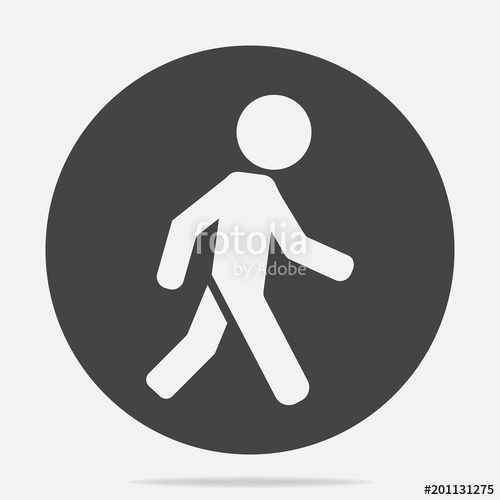 500x500 Vector Icon Of A Walking Pedestrian. Illustration Of A Walking Man