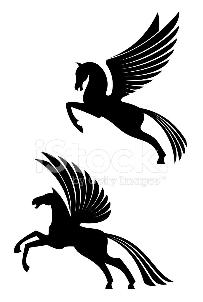 689x1024 Pegasus Winged Horses Stock Vector