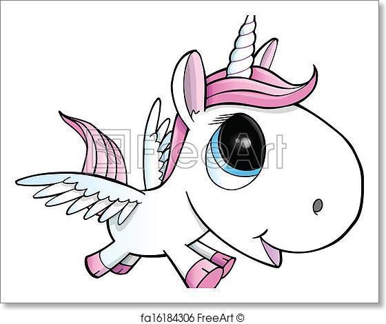 560x470 Free Art Print Of Unicorn Pegasus Vector Illustration. Cute
