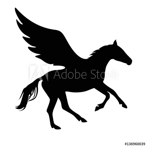 500x500 Pegasus Vector Symbol. Black On White