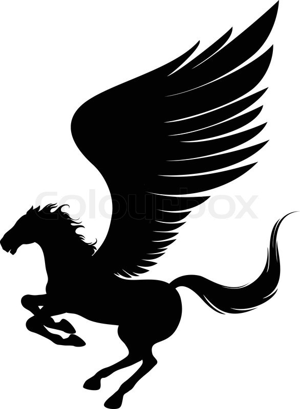 586x800 Power Pegasus With Wings. Vector Illustration Can Be Scale To Any