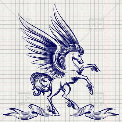 400x400 Sketch Of Pegasus With Wings And Ribbon On Notebook