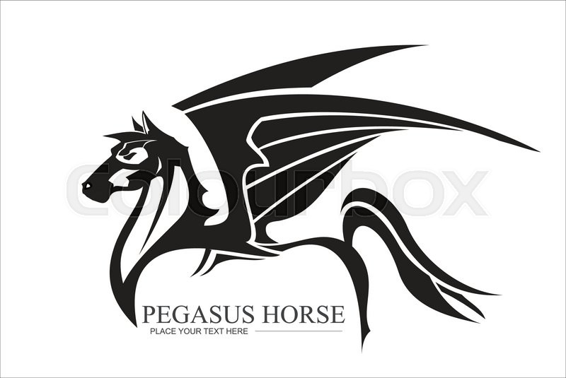 800x535 Winged Horse In Black And White. Pegasus In Black And White. Horse