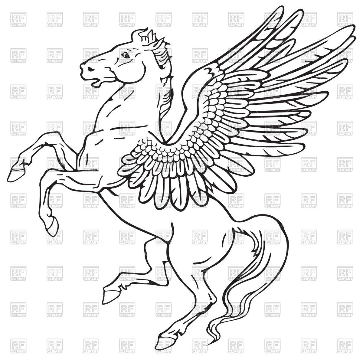 1200x1177 Mythological Heraldic Prancing Pegasus Vector Image Vector
