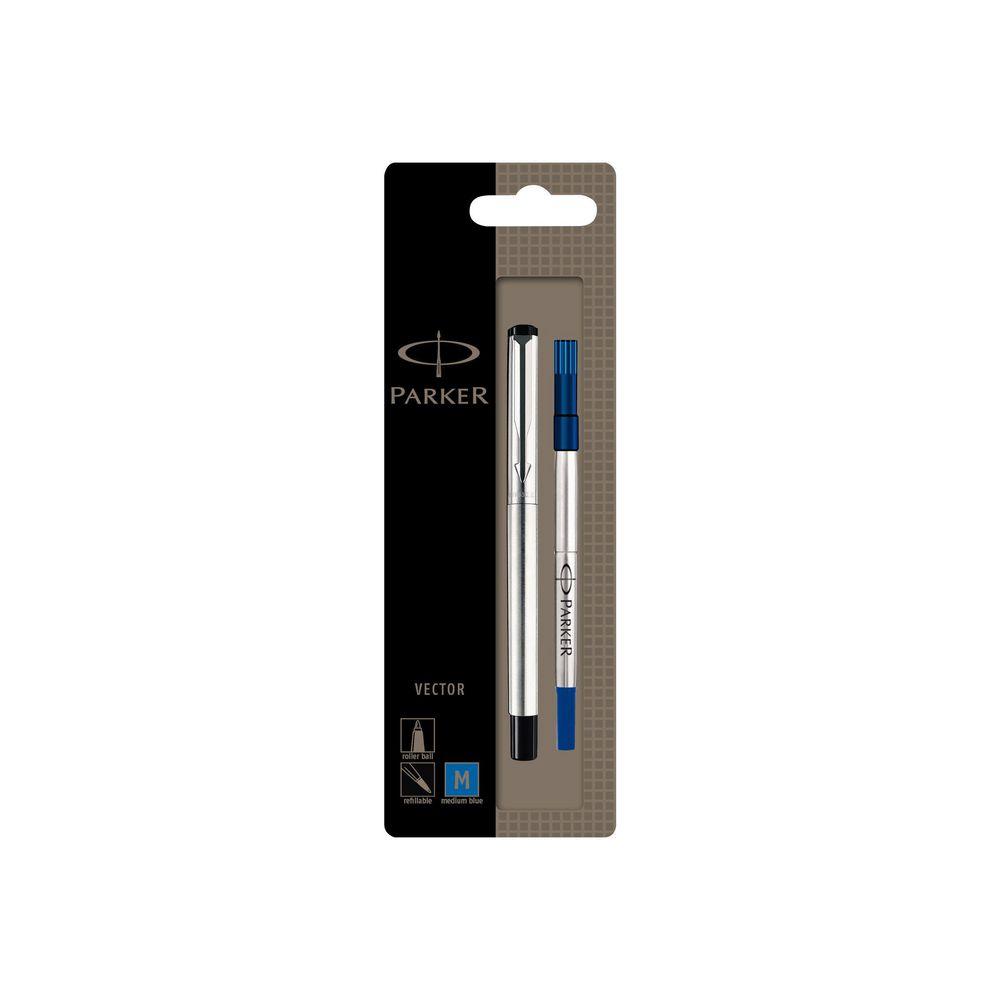 1000x1000 Parker Vector Rollerball Stick Pen, Medium Tip, Black Stainless