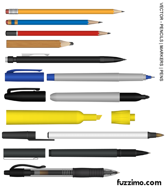 550x630 Free Vector Pencils Pens Markers Highlighter Fuzzimo