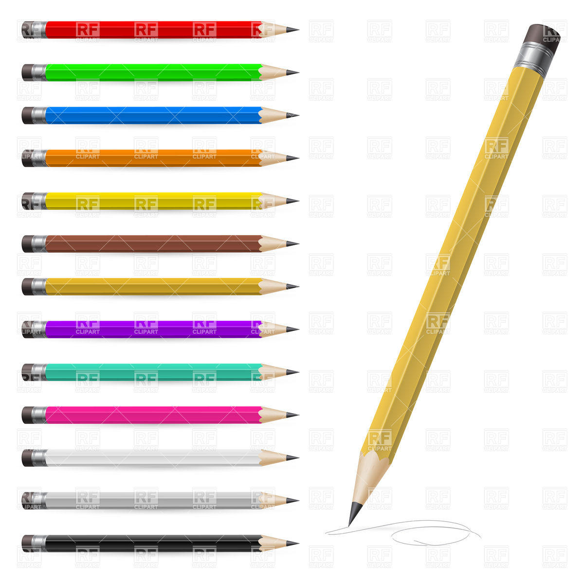 1200x1200 Set Of Coloured Pencils Vector Image Vector Artwork Of Objects
