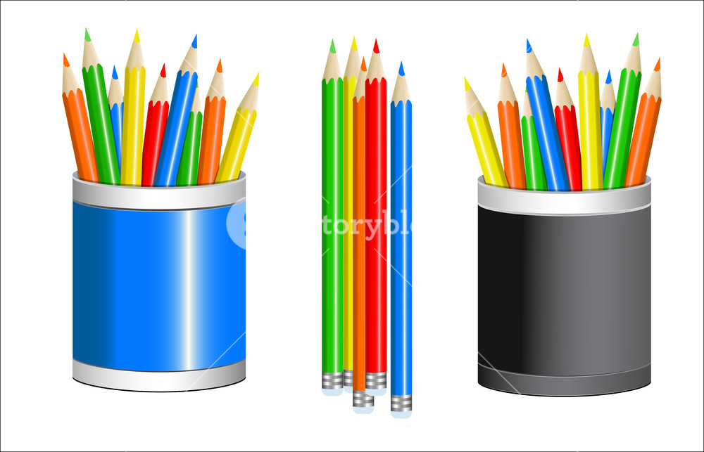 1000x643 Colored Pencils Vector Royalty Free Stock Image