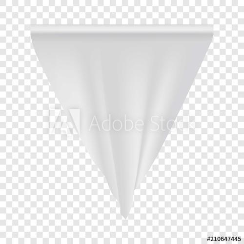 500x500 Empty White Pennant Mockup. Realistic Illustration Of Empty White