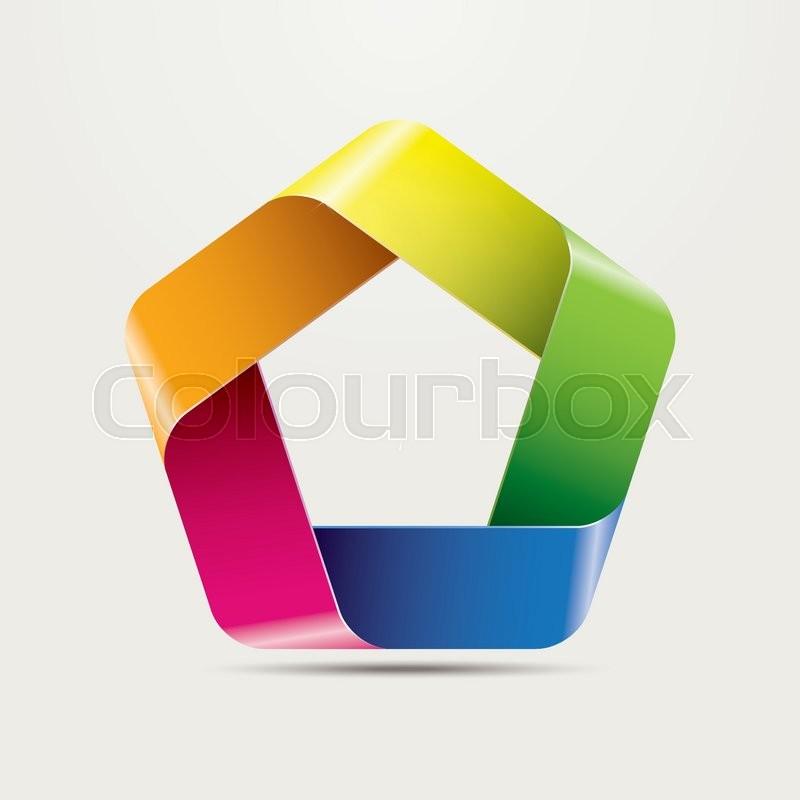 800x800 Infinite Ribbon Pentagon Vector Symbol, Five Vibrant Colors