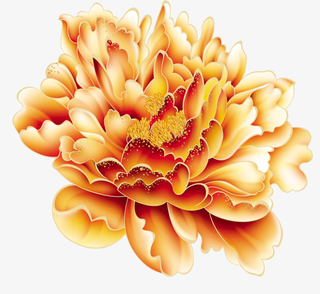 650x598 Vector Peony Flower, Flower Vector, Hand Painted Peony, National