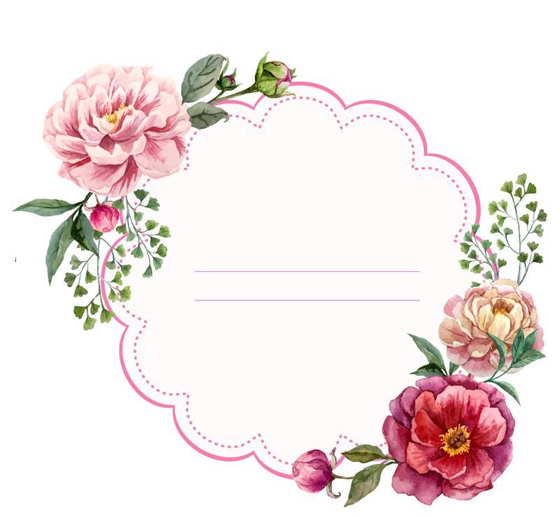 800x740 Color Peony Flower Decorative Label Vector [Ai]