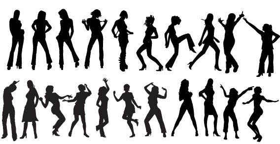 568x294 Free Vector Dancers Silhouettes Rock Star Dancer