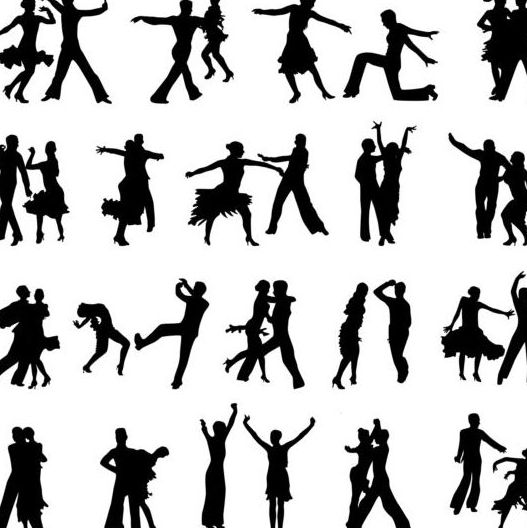 527x528 People Dancing Silhouetter Vector 01 Free Download