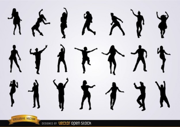 626x442 People Dancing Vector Silhouettes Vector Free Download