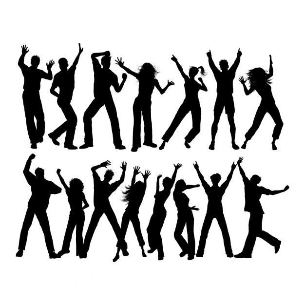 626x626 Silhouettes Of Lots Of People Dancing Vector Free Download