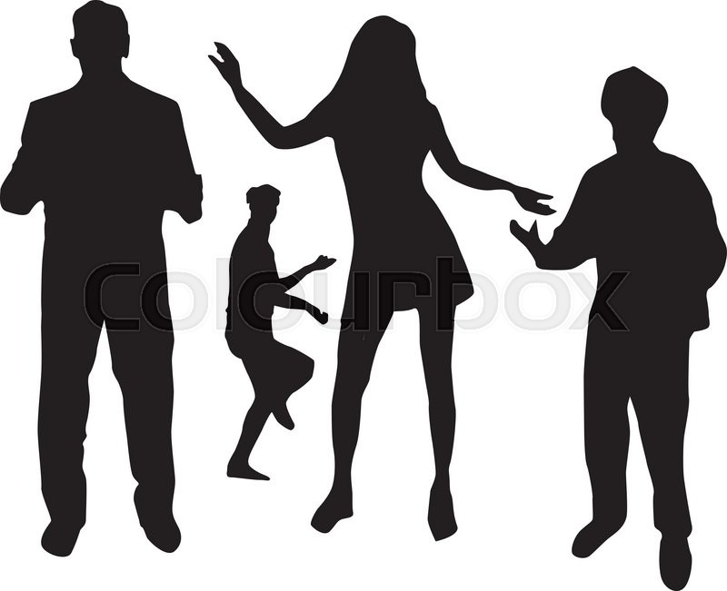800x651 Silhouettes Of People Dancing Stock Vector Colourbox