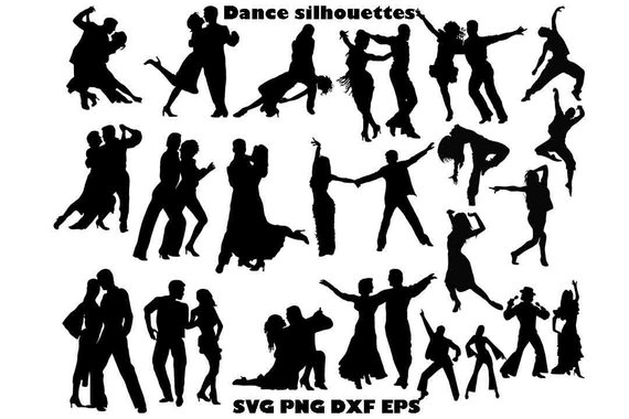 570x380 Dance Silhouette Dance Clipart Dance Couple Svg Dance Etsy