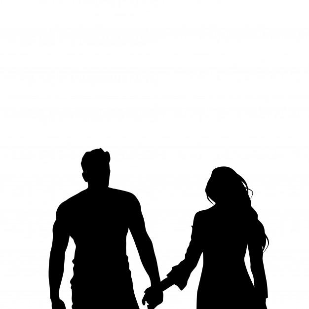 626x626 Black Silhouette Romantic Couple Holding Hands Vector Premium