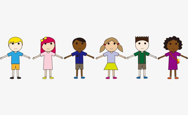 650x400 Children Holding Hands Cartoon, Children Vector, Cartoon Vector