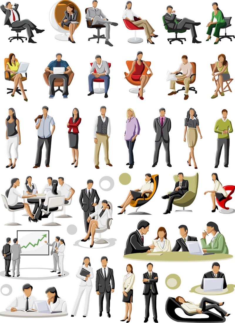 People Sitting Vector