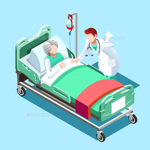 590x590 Medical Patient Bed And Doctor Talking Vector Isometric People By