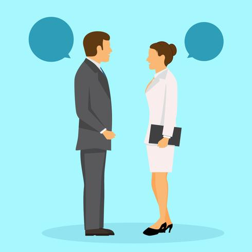 490x490 Two Business People Standing And Talking Vector