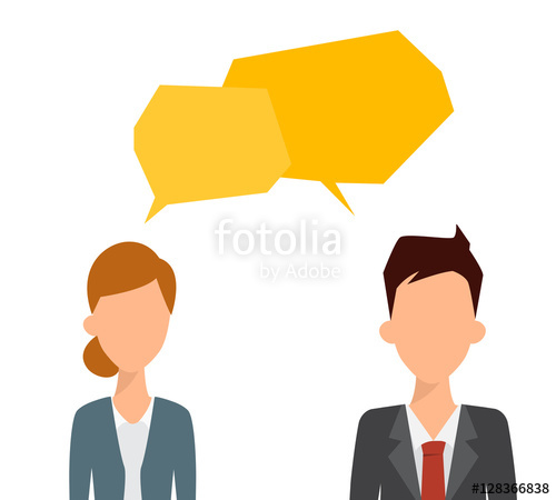 500x450 Two Business People Talking With Bubble Speech. Flat People Vect