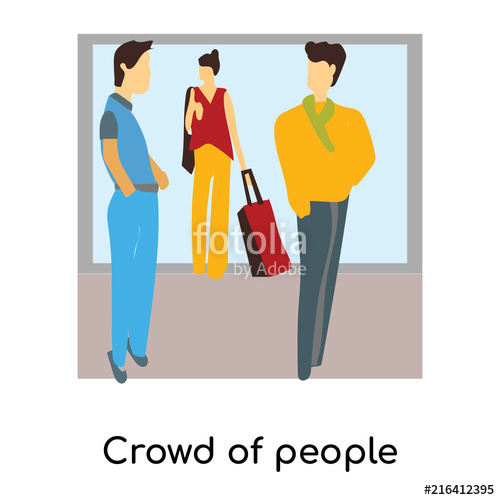 500x500 Crowd Of People Talking Vector Vector Sign And Symbol Isolated On