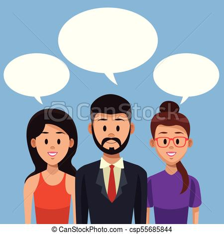 450x470 Young People Talking With Blank Speakboxes Vector Illustration